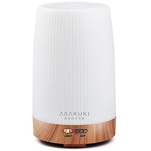 ASAKUKI 100ml Essential Oil Diffuser, 5 in 1 Ultrasonic Aromatherapy Diffuser with Intermittent Timer, 7 LED Lights and Auto-Off Safety Switch