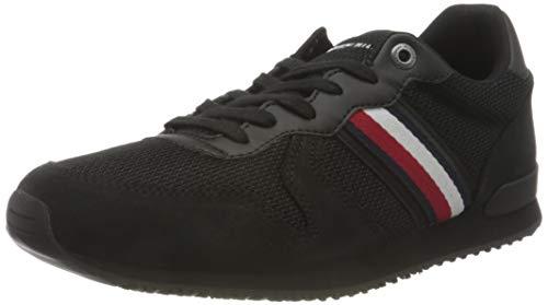 Tommy Hilfiger Herren Iconic Material Mix Runner Sneaker, Schwarz, 43 EU