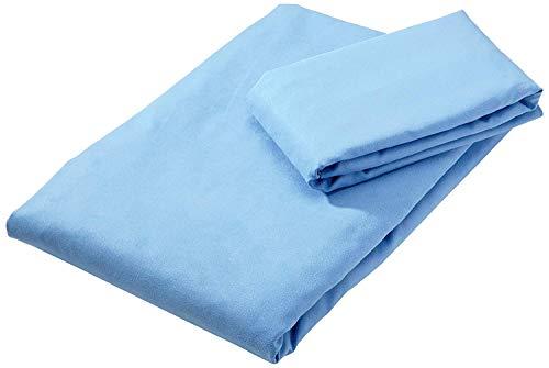 Amazon Basics Towels, Mikrofaser, Blau, 180 x 90 cm (Badetuch) 80 x 40 cm (Handtuch)
