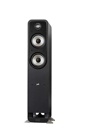 Polk Audio Signature S55E Standlautsprecher, HiFi Lautsprecher für Musik und Heimkino Sound, passiver Full Range Lautsprecher, 20 - 200 Watt, 8 Ohm, High Res, 40Hz - 40kHz (Stück), Schwarz