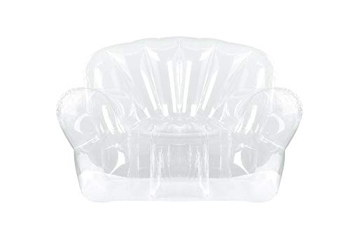 Inflatable Chair/Sofa Seat(Transparent Clear) for Kids, Teen Girls Room - Comfortable Indoor/Outdoor Furniture for Swimming Pool, Home, Dorm,Yard, Parties & Events - 100% Waterproof & Holds 220lbs
