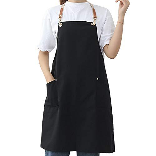 Watwass Schwarz Kittel-schürze für Frauen Restaurant Bäckerei Einstellbar Schürze Damen Kochen Grillen Backen
