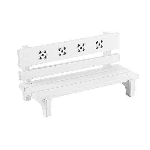 Födelsedagspresent Dollhouse Accessory Dollhouse Furniture, Mini Park Benches 1:12 Scale Miniatyr träbänk, för småbarns uteplats Balkong för barn(white)