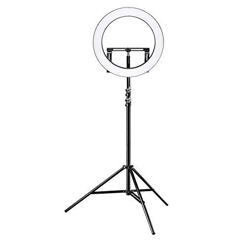 Walimex pro LED Ringleuchte 500 Bi Color Plus Stativ - modernes LED Ringlicht, Ø 50 cm, dimmbar, 3200-5600K, Betrieb per NP-F Akkus oder Netzteil, mit stabilem Lampenstativ 256 cm