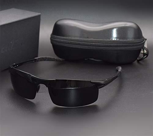 Clásico Gafas de sol polarizadas para hombres Calidad Al-MG Deportes Gafas de sol Masculina Protección UV Masculinas Gafas de Gafas de Gafas de Gafas para exterior ( Lenses Color : GUN GREY )
