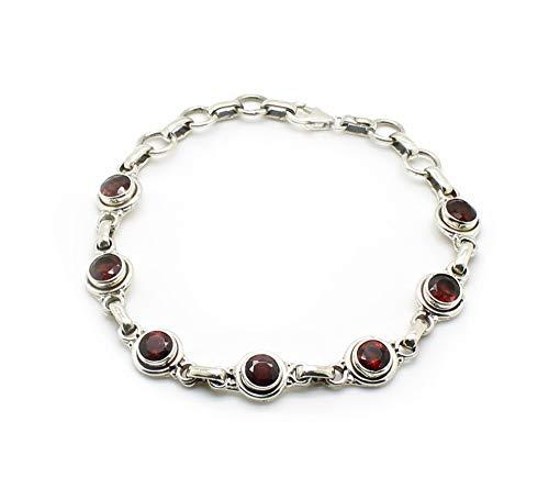 budawi® - rotes Granat Armband 925er Silberarmband facettiert, Granatschmuck