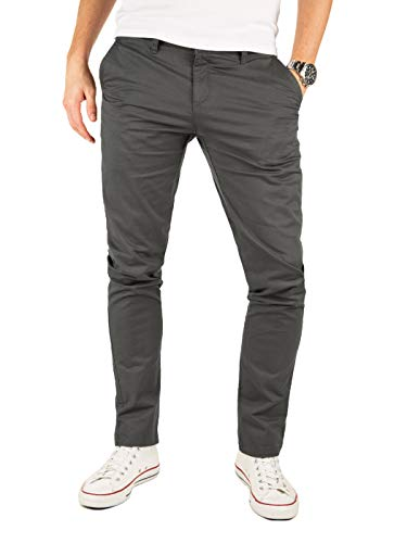 Yazubi Chino Hosen für Herren - Modell Kyle by Yzb Jeans Slim fit - Business Graue Chinohose Casual mit Stretch, Grau (Iron Gate 193910), W33/L30
