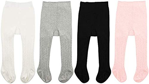 Baby Girl Tights for Toddler Newborn Infant Tight Warm Cable Knit Seamless Baby Leggings Winter Pants Stocking Solid White & Black & Pink & Gray 0-6 Months