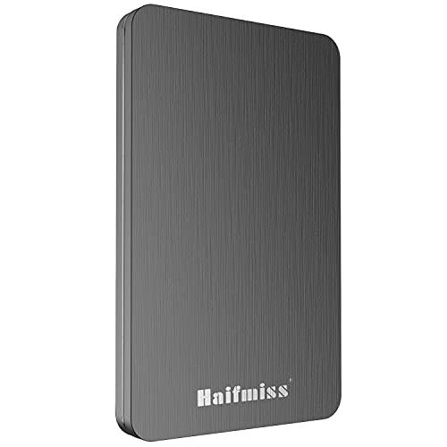 Haifmiss 2.5' 500GB Ultrafino Disco Duro Externo Portátil USB3.0 SATA, Todo Aluminio, HDD Almacenamiento para PC, Mac, Computadora portátil, Wii U, Xbox, PS4