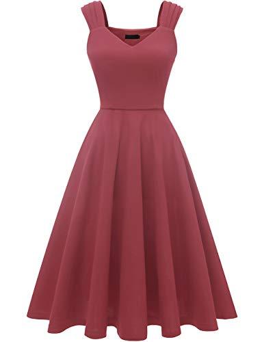DRESSTELLS Damen 1950er Midi Rockabilly Kleid Vintage V-Ausschnitt Hochzeit Cocktailkleid Faltenrock Raspberry S