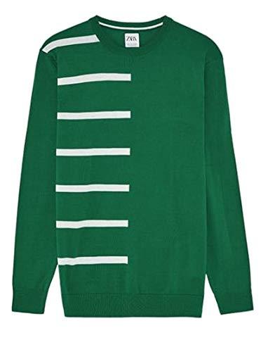 ZARA Herren Intarsien-Sweatshirt, gestreift Gr. Large, grün
