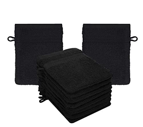Betz Lot de 10 Gants de Toilette Taille 16x21 cm 100% Coton Premium Couleur Noir