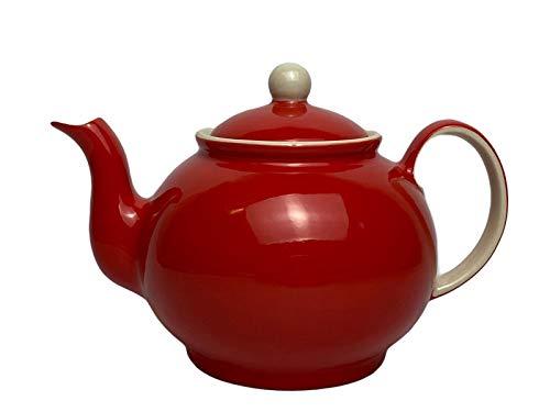 Windhorse - Teiera rossa con cammeo, grande, con riflessi crema, 4 tazze, stile rustico, dipinto a mano