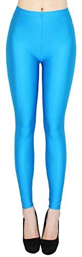 dy_mode Glanz Leggings Damen bunt viele Farben Tanz Leggings glänzende Leggins Shiny One Size - JL116 (One Size - geeigent für Gr. 36-38, JL116-Himmelblau)
