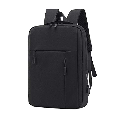 Mochila informal para hombres de negocios, mochila ligera de nylon impermeable para mujer, interfaz de carga USB, adecuada para viajes de ocio al aire libre-black