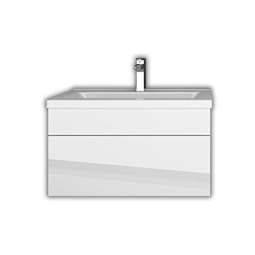 Home Deluxe - Badmöbel-Set - Wangerooge weiß - S - inkl. Waschbecken und komplettem Zubehör - Breite Waschbecken: ca. 60 cm