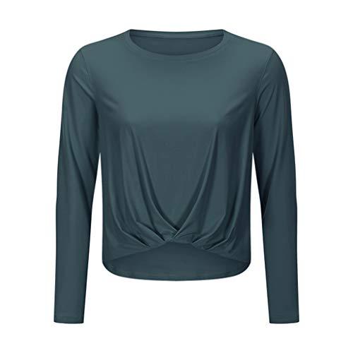 WYBFZTT-188 Frauen Langarm Yoga Shirts Fitness Laufen T Shirts Turnhalle Tragen Tops Schnell Trocken Atmungsaktiv Weibliche Yoga Hemd Sport Kleidung (Color : Black, Size : Small)
