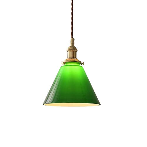 Ahzhlb Vintage Pendant Light Fitting with Dark Green Glass Lampshade Ceiling Suspension Lamp, Metal Hanging Droplight Fixture Nordic Chandelier for Loft Coffee Bar Kitchen Island