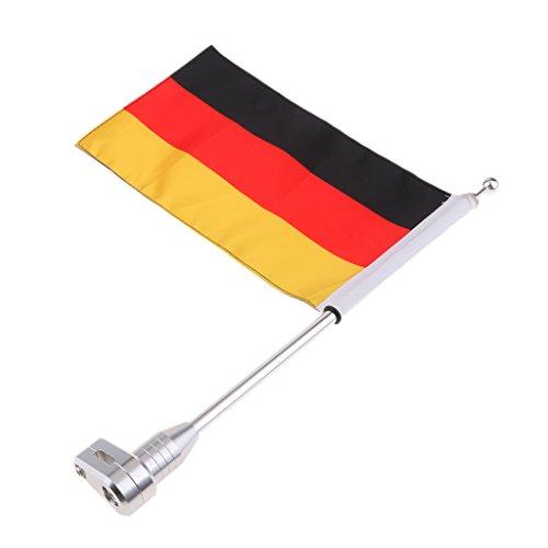 perfk Fahnen Stange Fahnenmast mit Deutschce Fahne für Motorrad Gepäckträger Halterung, passend für Honda Goldwing GL1500/1800