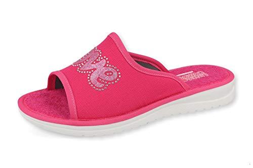 Art. 6067P Damen-Slipper mit Stress und Glitzer, rutschfeste Sohle und weiches Fußbett aus Stoff., Pink - fuchsia - Größe: 41 EU