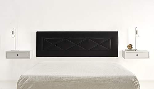 HOGAR24 ES Cabecero tapizado R55, válido para Cama 135,140 y 150 cm, Color Negro. Medidas; 155 cm x 55 cm x 3cm