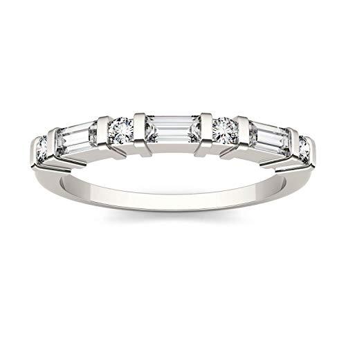 Charles & Colvard Forever One anillo de boda - Oro blanco 14K - Moissanita de 4.0 mm de talla baguette, 0.468 ct. DEW, talla 14,5