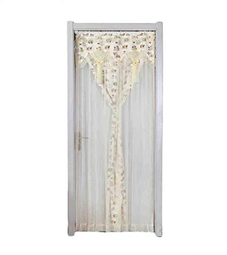 HFWJHH Haushalt Gardinen, Einteilige Stoffvorhänge, Wind- Und Insektendichte Haus Vorhänge, Trennvorhänge for Die Dekoration Fengshui Schlafzimmer (Color : Beige-1, Size : 90 * 120cm)