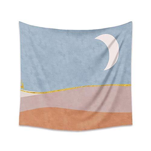 KHKJ Azul Rosa Sol Luna Tapiz Colgante de Pared Bohemio Celestial Tapiz Hippie Pared Alfombra Paño Hogar Dormitorio Decoración Fondo A5 150x130cm