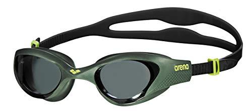 arena Unisex Training Freizeit Schwimmbrille The One (UV-Schutz, Anti-Fog Beschichtung, Harte Gläser), grün (Smoke-Deep Green-Black (560), One Size