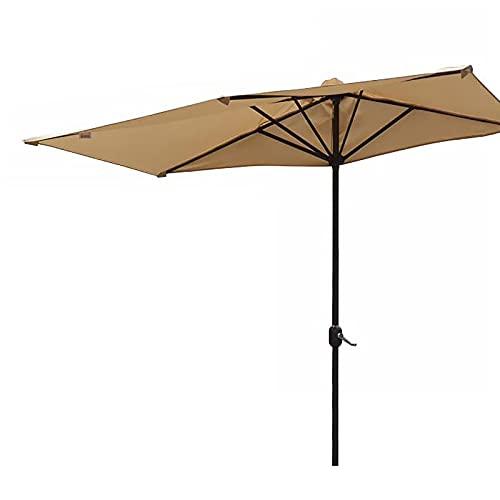 ZLI Paraguas de Jardín Media Sombrilla de Patio 8ft con Manivela y 5 Varillas, Paraguas de Acero para Espacios Estrechos para el Balcón del Patio Trasero de Camping, 2,35m de Altura