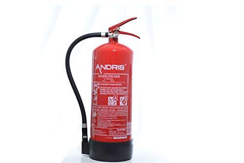 Feuerlöscher 6L Schaum AB Orig. ANDRIS® für Gewerbe geeignet mit Manometer, EN 3, Wandhalterung und ANDRIS® Prüfnachweis & ISO-Symbolschild Folie