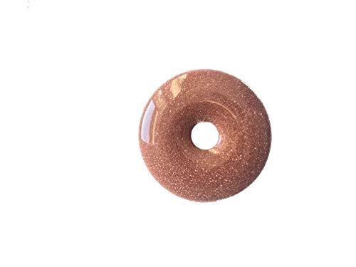 Colgante de oro cadena Río Donut gebort 40mm con cinta de piel piedra preciosa piedra oro rojo curativas giltzer