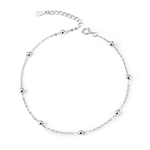Ankle Bracelets 925 Sterling Silver Beaded Chain Anklets for Women Simple Foot Jewelry