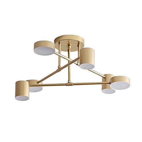 LHTCZZB Colgante de la lámpara LED de tres colores luz de techo de atenuación, Hierro Metal la lámpara de la sala de estar dormitorio de alumbrado de suspensión...