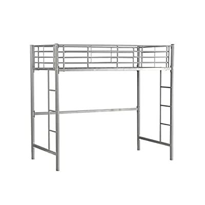 YORKING Single Loft Bed High Sleeper Bed Metal Bunk Bed Frame Day Bed With Double Ladder And Safety Guardrail