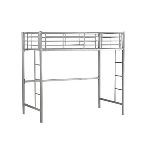 YORKING Single Loft Bed High Sleeper Bed Metal Bunk Bed Frame Day Bed With Double Ladder And Safety Guardrail Silver