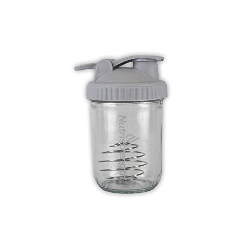 Nutristrength Protein Shaker Cup Water Bottle - 16oz Glass Water Bottle Grey Lid | Includes Wire Ball for Smooth Shakes