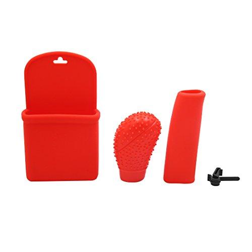 sourcing map 3 en 1 Voiture silicone rouge couvre pommeau levier frein à main aération