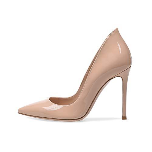 Damenschuhe Pumps Lackleder Stiletto, MWOOOK-1112 Sexy Spitz-zehe Dress High Heel Modern Basic Pump Schuhe für Party,Nude,40EU