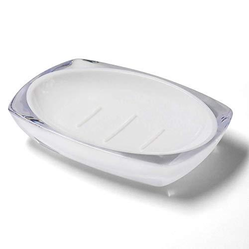 TOPSKY Seifenschale aus Kunstharz, weißer Seifenhalter, transparente Seifenschale, ovale Seifenschale für Badezimmer, Küchenspüle, Abtropfgestell Dusche, stoppt matschige Seife