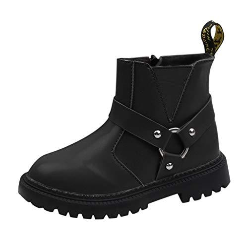 Toddler Kids Boots Girl Boy Waterproof Shoes Rain Hiking Winter Snow Booties Baby Short Ankle Shoe (10.5-11Years, Black)