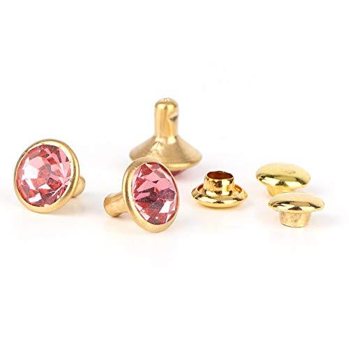 Botones de diamantes de imitación de colores con incrustaciones de cristal para prendas de vestir rápidas de cuero (Phnom Penh + diamante rosado)