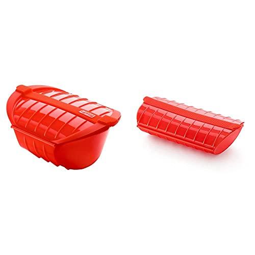 Lékué Estuche hondo de vapor XL, capacidad de 1000 ml, para 3-4 personas, color rojo + Estuche de vapor, 1-2 personas, color rojo