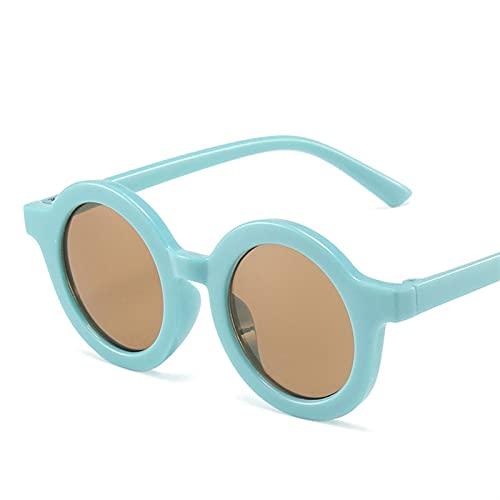 MINGQIMY Gafas de Sol Niños niño niña Linda Leopardo Doble Color Forma de Dibujos Animados Gafas de Sol Redondo Gafas de Sol Vintage UV400 Clásico de protección (Frame Color, Lenses Color : 02)