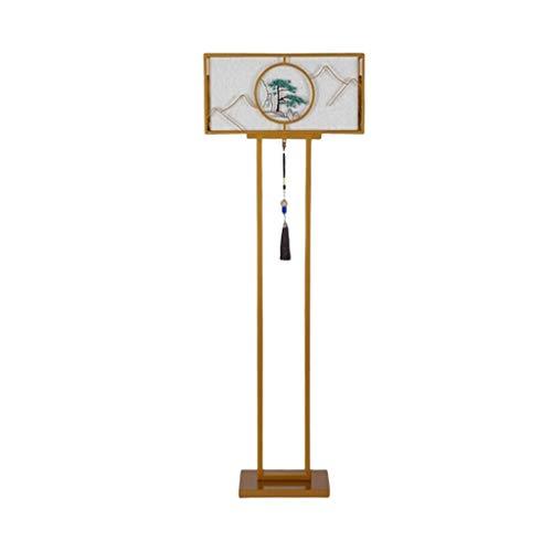 MYBA Lámpara de pie china para dormitorio, mesita de noche, de montaña, tallada en agua, antigua, decoración para salón (color: dorado)