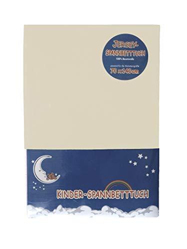 HAHN Jersey-Spannbettlaken für Kinderbett, 70x140 cm, sand