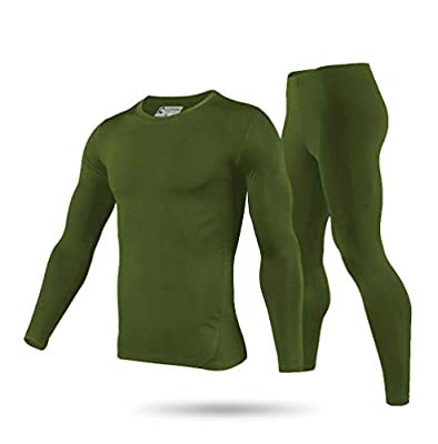 9M Men's Ultra Soft Thermal Underwear Base Layer Long Johns Set with Fleece Lined, Army Green, Medium