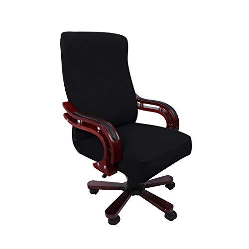 PiccoCasa Computerstuhl Schreibtischstuhl Bezug Jacquard Streifen, Hoher Rückenlehne Bezug für Universellen Drehbaren Boss-Stuhl, Dehnbarer wasserdichte Bürostuhl Bezug Schwarz Größe L