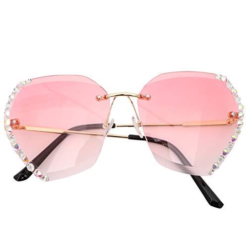 TENDYCOCO Occhiali da Sole con Strass Occhiali da Sole Colorati Sfumati Occhiali da Sole Senza Montatura Sfumature Oversize per Donna