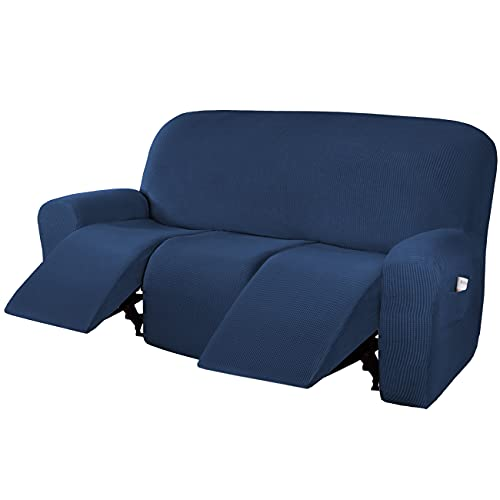 H.VERSAILTEX Super Stretch Recliner Sofa Covers Reclining Couch Covers Recliner Sofa Slipcovers 3 Seater Furniture Covers Thick Soft Jacquard Fabric Form Fitting and Easy Put On, Navy